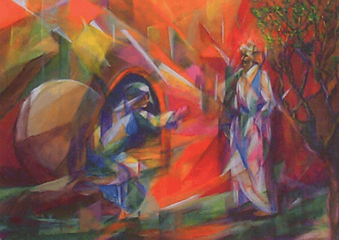 Abstract art with two people
